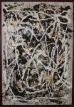 André Pompeu, Técnica mista sobre tela, com folha de ouro e erva-mate, medindo 55 x 38 cm.