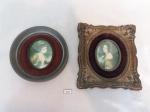 Par de Antigos quadros Camafeu Lady Hamilton by George Romney. Medida: quarado 16cm x 18 cm , oval 14 cm