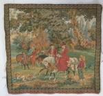 Corte de tecido grosso com cenas de paisagem de época - Medidas:  49x46 cm