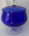Bombonier  em vidro azul - Altura: 24 cm