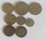 Oito moedas em Reis, 100,200 e 300 reis de 1937, 300 reis 1942, duas moedas de 300 reis  de 1940 , 100 reis de 1938 e 20 reis 1921.
