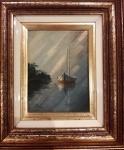 Quadro óleo sobre tela datado e assinado - Medidas: 22x25 (Moldura) cm e 10x13 cm ( Tela).