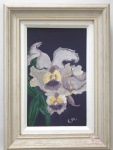 Quadro óleo sobre tela Orquídea assinado C.M. - Medidas: 23x31 cm ( Total)