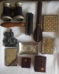 Lote com vários objetos entre eles, antigo binoculo( no estado), antigo porta cigarro e outros.