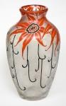 LEGRÀS- Raro vaso em vidro artístico Art Noveau, com decoração floral. França 1920, assinado. Med.: 22 cm.