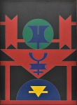 """RUBEM VALENTIM - """"Emblema"""", A.S.T, assinado no verso, datado de 1986, acompanha Transferência de Propriedade e Declaração de Autenticidade de Soniel Alexandre Falcão de Freitas - Tableau Arte & Leilões, e cachê da Galeria Crayon Leilões. Med.: 100x73 cm."""