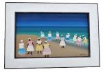 """UBIRACI PINTO - pintura """"NAIF"""", acrílico sobre tela, assinado e emoldurado. Medida da tela 32x54 cm e da moldura 40x62cm."""