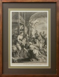 Serigrafia reproduzindo a Adoração dos Reis Magos, P P Rubens pinxit e H. Witouc Sculp 1678, medindo 47 x 32 cm sem moldura e 68 x 52 cm com moldura.