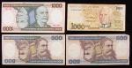 Lote composto por duas cédulas de 500 Cruzeiros, 1 de 1000 Cruzeiros ( Candido Rondon ) e 1 de 1000 Cruzeiros ( Barão do Rio Branco )