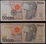 Lote composto por 2 cédulas, de 50.000 Cruzeiros.