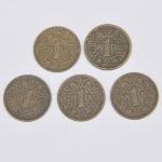 Lote composto por cinco moedas Espanholas de 1 Peseta cunhadas em 1944.