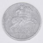 Lote composto por moeda espanhola de 10 Cêntimos cunhada em 1945