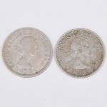 Lote composto por duas moedas do Reino Unido de 6 Pence cunhadas respectivamente em 1955 e 1960.