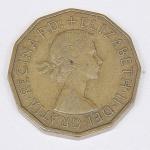 Lote composto por uma moeda do Reino Unido de 3 Pence cunhada em 1955.