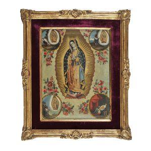 Quadro à óleo sobre tela representando Nossa Senhora de Guadalupe, cerca 1800, com moldura da época, dourada à folha de ouro. Medidas: 40 x 30 cm(tela) ou 58 x 48 cm(c/ moldura).