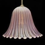 """ERCOLE BAROVIER - Luminária plafon em vidro artístico de Murano na cor rosa, """"aventurine""""  em formato de cogumelo, com fino gomado e farta inclusão de pó de ouro, anos 50, com etiqueta da época. Medidas: 35 cm de diâmetro x 27 cm de altura."""