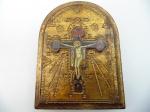 Impressão esmaltada sobre madeira. Representando cristo crucificado, origem ortodoxo. Altura 20 cm e largura 15 cm.