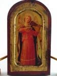 Tábua com impressão e folha de ouro.  Anjo interpretando cantos Gregoriais. Altura 23 cm e largura de 13 cm.