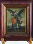 Óleo sobre tela, representando Anjo Colonial Espanhol.  Altura 18 cm, largura 15,5 cm.