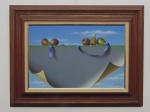 """Óleo sobre tela, assinada por Henrique Santanna, ano 1989. Altura 40 cm, comprimento 60 cm . Titulo """"Figo Quarto"""""""