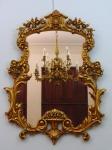 Espelho Frances folhado a ouro com cristal facetado.  Altura 102 cm, largura 82 cm. Faz conjunto com o lote anterior.