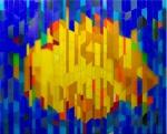 Vitral, feito com cristais coloridos cortados em formas geométricas e colados sobre folha de grosso acrílico. Feito na Itália, na década do 70 por artistas do movimento de ARTE CONCRETO. Altura 216 cm, comprimento total 260 cm. (se divide em 3 peças de 86 cm aproximadamente)
