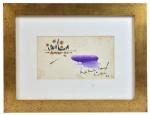 Geroges Mathieu - (França 1921 - 2012) - Composição, aquarela sobre cartão. Emoldurado e envidraçado em elegante perfil quadrado e dourado. 14 x 25 cm. Assinado e datado 1963.