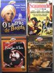 DVD - Lote composto por 4 filmes Clássicos a saber: As Aventuras de Don Juan; Barba Negra, o Pirata; Scaramouche; O Ladrão de Bagdá. Muito bom estado de conservação.