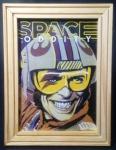 Giclée - Porta retratos em pinho ranhurado, com impressão Giclée - David Bowie, Space Oddity. retrato Major Tom. 20 x 15 cm  Excelente estado de conservação, possui pino de apoio e possibilidade de pendurar.