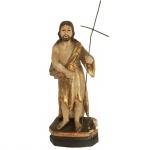 Escultura em madeira representando São João Batista. Brasil, Séc XIX. 26 cm de altura.