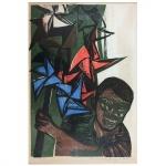 """Emanoel Araújo, """"Figura com cata-vento"""". Gravura. Assinado, cid e datado de 64. 50 x 35 cm."""