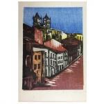 "Emanoel Araújo, ""Casarios"". Gravura. Assinado, cid e datado de 64. 50 x 35 cm."