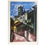 """Emanoel Araújo, """"Casario"""". Gravura. Assinado, cid e datado de 64. 50 x 35 cm."""