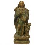Escultura em madeira representando Santa Ana Mestra com resplendor. Brasil, Bahia, Séc. XIX. 31 cm com resplendor e 25 cm sem.