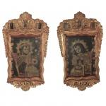 Escola Cusquenha - Raríssimo pendant de pintura com suas ricas molduras originais em madeira dourada, representando menino Jesus. O primeiro com rosas e o segundo com os espinhos. Peru, Séc XVIII. 122 x 72 cm.