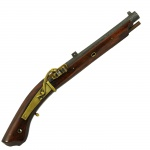 Pistola japonesa de mecha Teppo. Séc. XVIII. 27,5 cm o cano. 45 cm comprimento total.