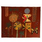Genaro de Carvalho (1926-1971)  Tapeçaria policromada. Pintor e tapeceiro brasileiro. Assinado, cid. 150 x 170 cm.