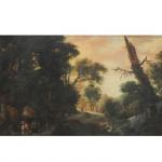 Jan Wildens (1586 - 1653) (Atribuído). Escola Europeia. Paisagem na Floresta. Óleo sobre tela, Séc. XVIII. 105 x 158 cm.