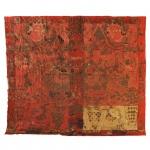 Grande tecido bordado e policromado. China, Séc. XVIII. 330 x 300 cm.