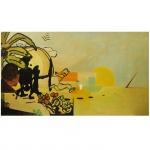 """Luiz Paulo Baravelli (1942), Paisagem com dois personagens poderosos"""". Pintor, desenhista, escultor e gravador brasileiro. Óleo sobre placa. Assinado no verso. 68 x 122 cm."""