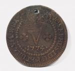 Rara moeda de V Réis Brasil Colonia cunhada em 1774. Perfurada.