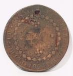 Moeda de 40 Réis Império Brasil, cunhada em 1824. Perfurada.