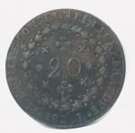 Moeda de 20 Réis Império Brasil, cunhada em 1825.