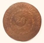 Rara moeda de 80 Réis , com contramarca de 20 Réis, Império Brasil. data  ilegível.