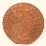 Moeda de 80 Réis Império Brasil, cunhada em 1832.