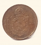 Moeda de 100 Réis Império Brasil, cunhada em 1868.