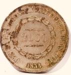 Moeda Império Brasil 2000 Réis cunhada em 1854.
