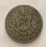 Moeda 100 Reis, Brasil Imperial, cunhada em 1881.