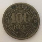 Moeda 100 Reis, Brasil Imperial, cunhada em 1871.