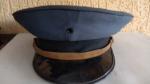 Antigo Quepe da Policia Ferroviária de São Paulo, forração em couro e sintéticos, usado, marcas do tempo e uso.